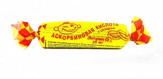 Аскорбиновая кислота с сахаром таблетки 25мг лесная ягода 3г 10 шт.