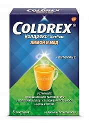 Колдрекс хотрем 5 шт. порошок для приготовления раствора для приема внутрь мед-лимон