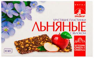 Льняные хрустящие пластинки биокор с яблоком 30 шт.