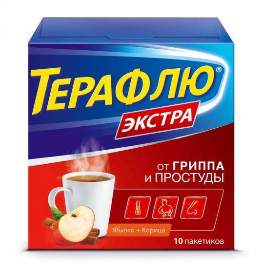 Терафлю экстра 10 шт. порошок яблоко-корица, фото №1
