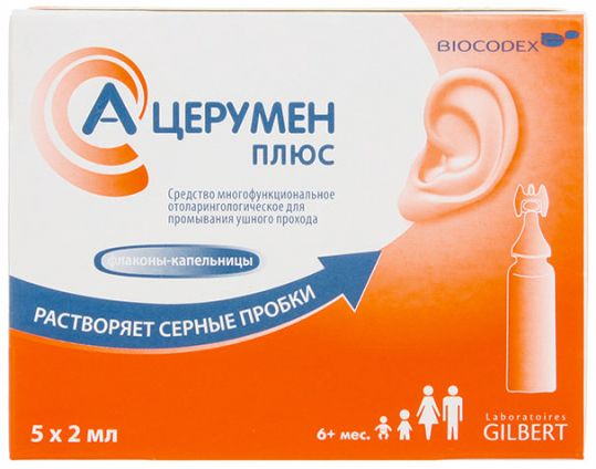 А-церумен плюс средство для промывания ушного прохода 2мл 5 шт. флакон -капельница, фото №1