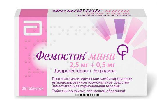 Фемостон мини 2,5мг+0,5мг 28 шт. таблетки покрытые пленочной оболочкой, фото №1