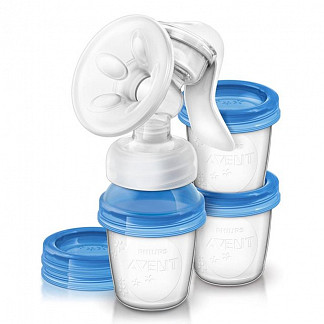 Авент молокоотсос ручной с контейнерами д/хранения молока 86540 (scf330/13)