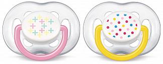 Авент пустышка силиконовая для девочек 6-18 месяцев (scf180/28) 2 шт.