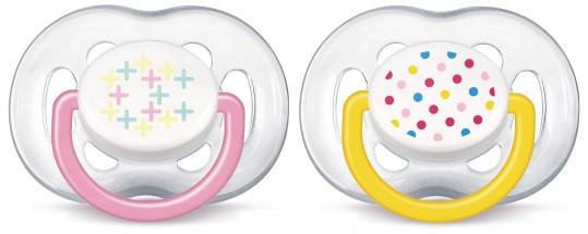 Авент пустышка силиконовая для девочек 6-18 месяцев (scf180/28) 2 шт., фото №1