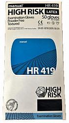Мануал хай риск перчатки смотровые нестерильные неопудренные латексные hr419 размер m 50 шт.