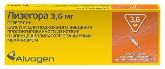 Лизегора 3,6мг 1 шт. капсулы для подкожного введения пролонгированного действия шприц-аппликатор, фото №1