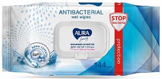 Аура фэмили салфетки влажные антибактериальные с крышкой 72 шт.