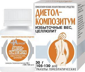 Диетол-композитум 30г гранулы гомеопатические