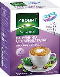 Леовит биослимика капуччино с зеленым кофе кофе для похудения жиросжигающий комплекс 14г 7 шт.