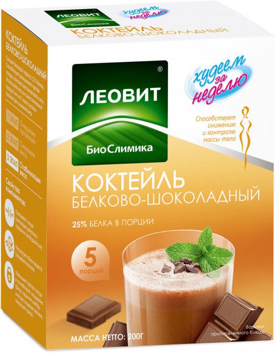 Леовит худеем за неделю коктейль белково-шоколадный 40г 5 шт., фото №1