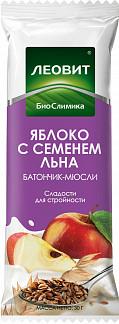 Леовит биослимика батончик-мюсли яблоко/семена льна 30г