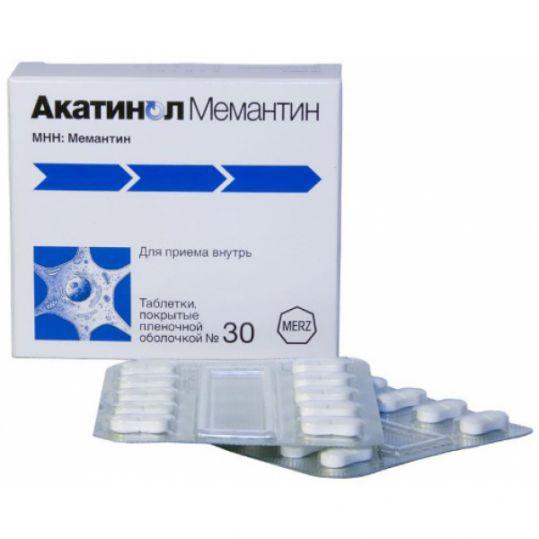 Акатинол мемантин 10мг 30 шт. таблетки покрытые пленочной оболочкой, фото №1