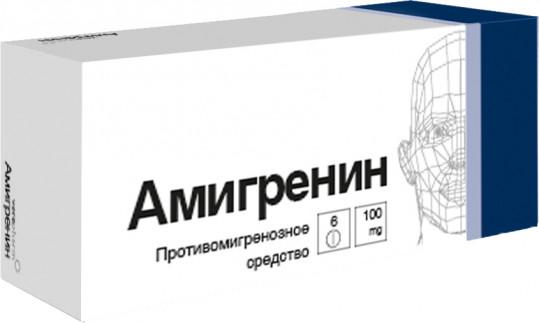 Амигренин 100мг 6 шт. таблетки покрытые пленочной оболочкой, фото №1