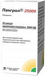 Пангрол 25000 25000ед 50 шт. капсулы кишечнорастворимые
