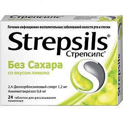 Стрепсилс 24 шт. таблетки для рассасывания лимон без сахара