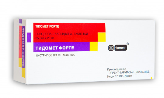 Тидомет форте 250мг+25мг 100 шт. таблетки, фото №1
