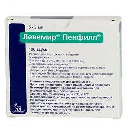 Левемир пенфилл 100ед/мл 3мл 5 шт. раствор для подкожного введения картридж
