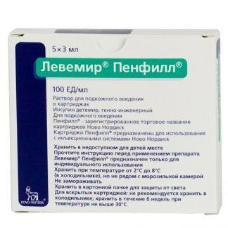 Левемир пенфилл 100ед/мл 3мл n5 р-р д/подкожного введения картридж