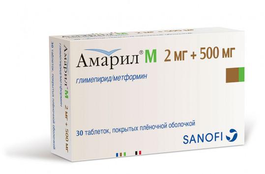 Амарил м 2мг+500мг 30 шт. таблетки покрытые пленочной оболочкой, фото №1