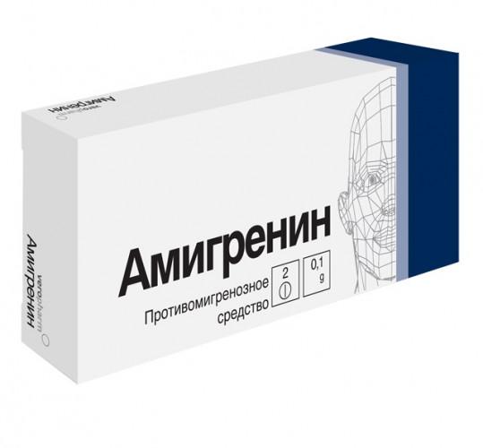 Амигренин 100мг 2 шт. таблетки покрытые пленочной оболочкой, фото №1