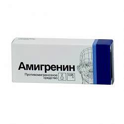 Амигренин 50мг 2 шт. таблетки покрытые пленочной оболочкой