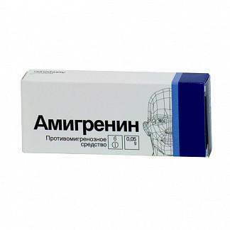 Амигренин 50мг 6 шт. таблетки покрытые пленочной оболочкой
