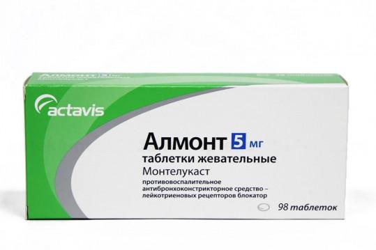 Алмонт 5мг 98 шт. таблетки жевательные, фото №1