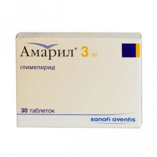 Амарил 3мг 30 шт. таблетки, фото №1