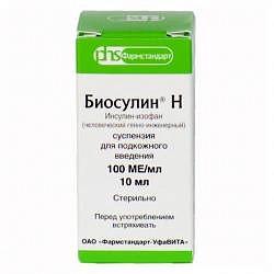 Биосулин н 100ед/мл 10мл 1 шт. суспензия для подкожного введения