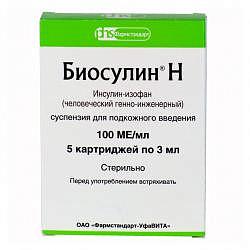 Биосулин н 100ме/мл 3мл 5 шт. суспензия для подкожного введения картр. в шпр.-ручк.