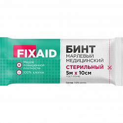 Фиксэйд бинт стерильный марлевый 5х10см гост плотность 36 г/м2 1 шт.