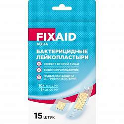 Фиксэйд аква лейкопластырь бактерицидный полимерный эффект второй кожи набор 15 шт.