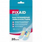 Фиксэйд инвизибл лейкопластырь бактерицидный влагоустойчивый полимерный прозрачный 72х19мм 20 шт.
