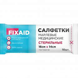 Фиксэйд салфетки стерильные марлевые 16х14см гост плотность 36 г/м2 10 шт.