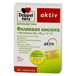 Доппельгерц актив фолиевая кислота + витамины b6+b12+c+e таблетки 30 шт.