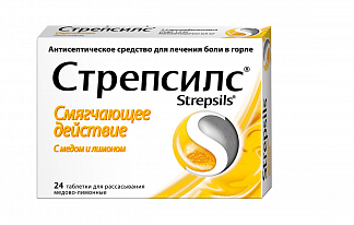 Стрепсилс n24 таб. д/рассасывания мед-лимон