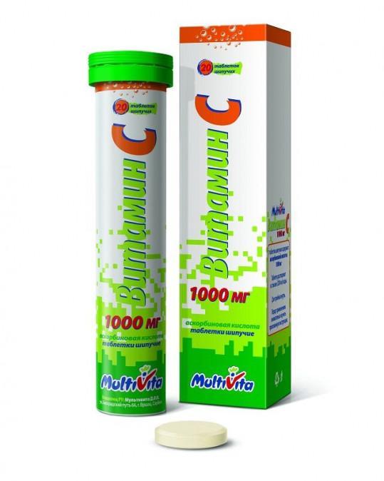 Витамин c 1000мг 20 шт. таблетки шипучие, фото №1