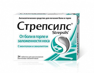 Стрепсилс 24 шт. таблетки для рассасывания ментол-эвкалипт