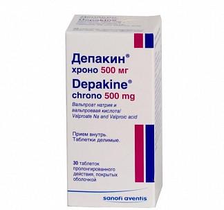 Депакин хроно 500мг 30 шт. таблетки пролонгированного действия покрытые оболочкой