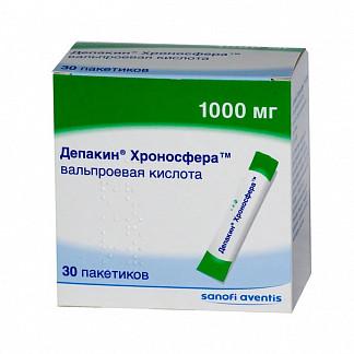 Депакин хроносфера 1000мг n30 порошок