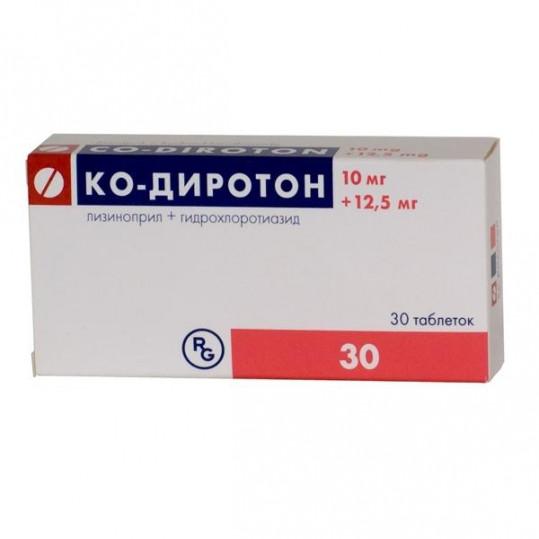 Ко-диротон 10мг+12,5мг 30 шт. таблетки, фото №1
