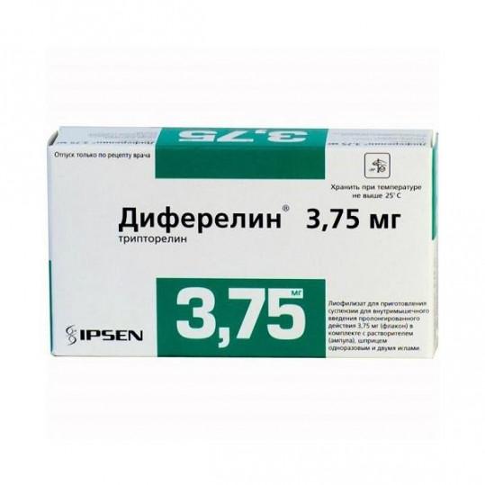 Диферелин 3,75мг 1 шт. лиофилизат для приготовления суспензии для внутримышечного введения пролонгированного действия, фото №1