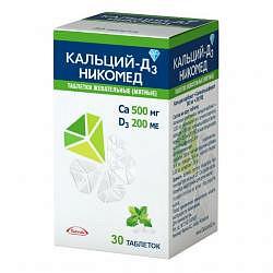 Кальций-д3 никомед 30 шт. таблетки жевательные мята