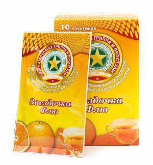 Звездочка флю 15г 10 шт. порошок для приготовления раствора апельсин