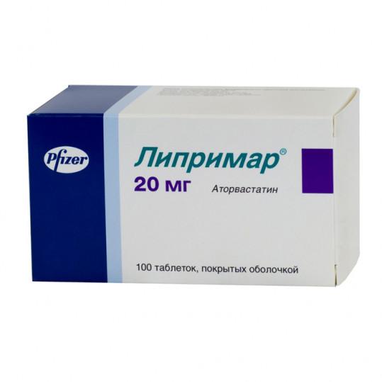 Липримар 20мг 100 шт. таблетки покрытые пленочной оболочкой pfizer ireland pharmaceuticals, фото №1