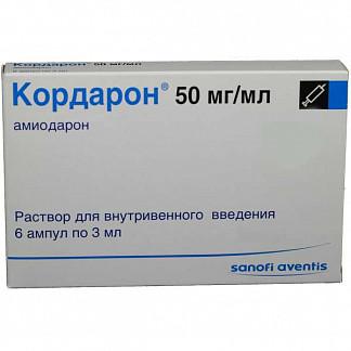 Кордарон 50мг/мл 3мл 6 шт. раствор для внутривенного введения