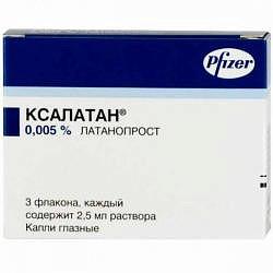 Ксалатан 0,005% 2,5мл 3 шт. капли глазные