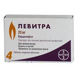 Левитра 20мг 4 шт. таблетки покрытые пленочной оболочкой