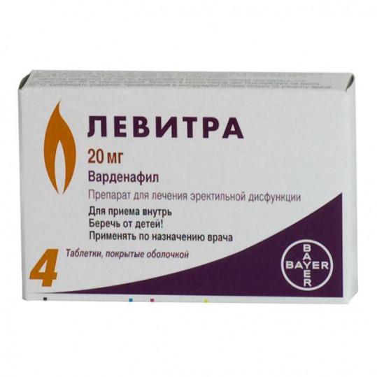 Левитра 20мг 4 шт. таблетки покрытые пленочной оболочкой, фото №1
